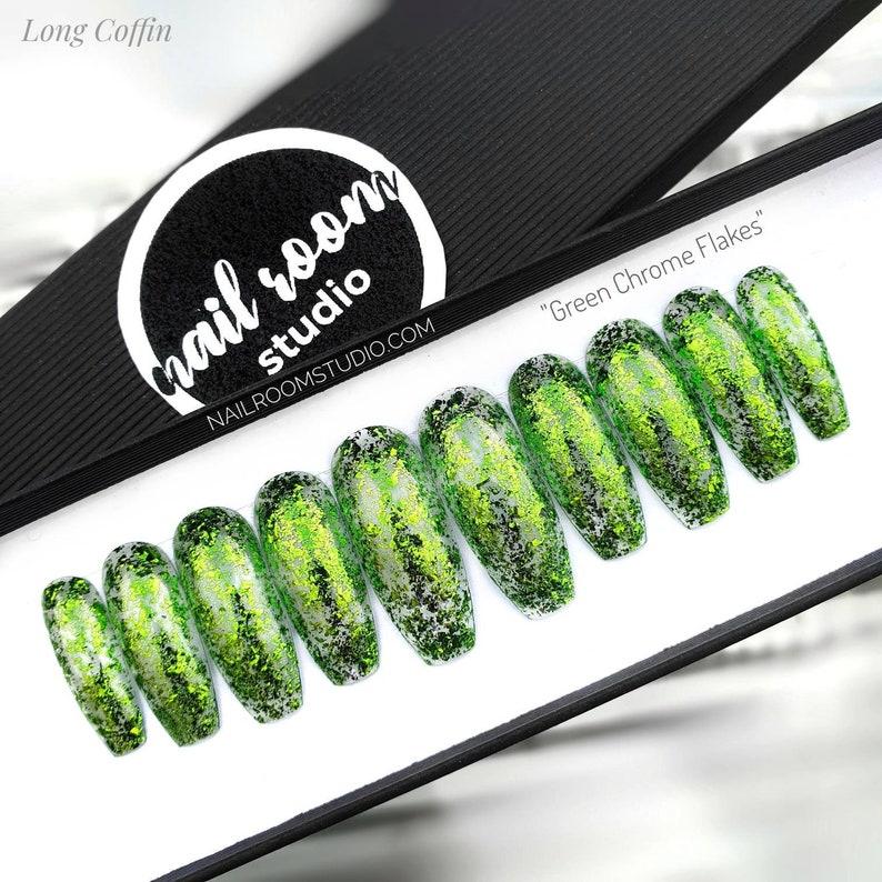10 press on nails  Green Chrome Flakes  custom image 0