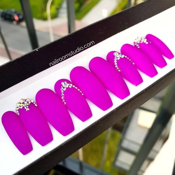 Violet matte press on nails , AB opal shiny crystals , fake nails jewelry ,  Purple fake nails , Solid false custom hand painted nail tips