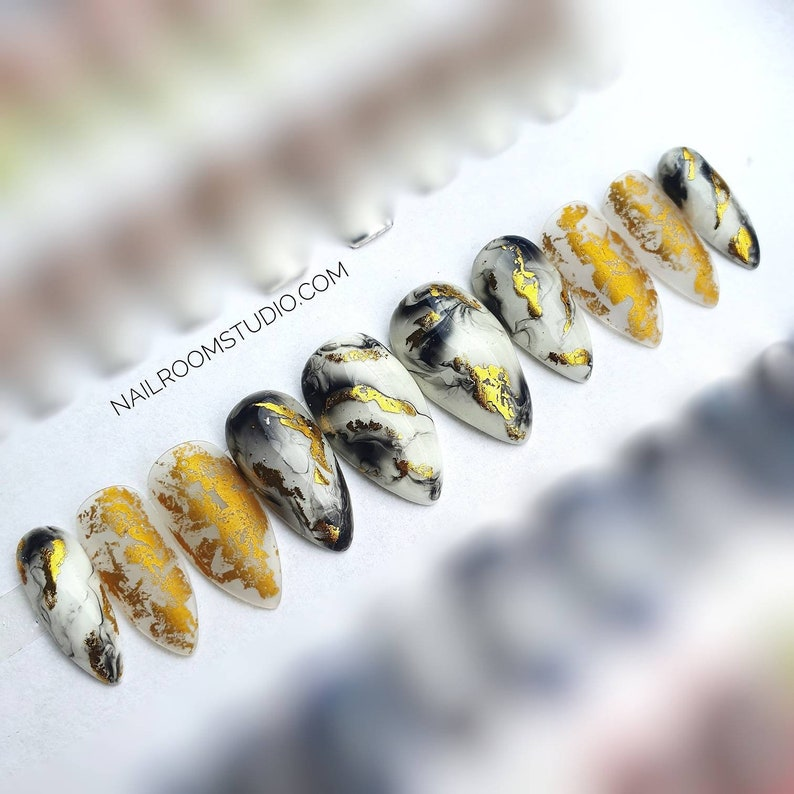 Marble black white and Gold matte foil on clear nails  Custom image 0