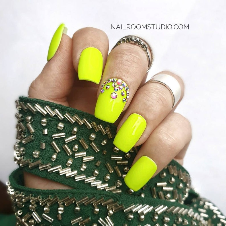 NEON YELLOW crystals set 10 nails  any shape and length  image 0
