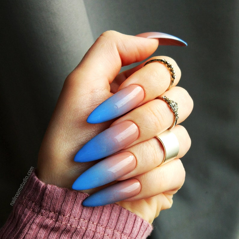Nude Blue Ombre Custom False Nails Gel Acrylic Artificial Glossy