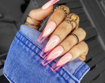 10 nails - Baby Pink French | neon clear space press on nails | gel tips acrylic | glossy short long pop coffin stiletto ballerina square