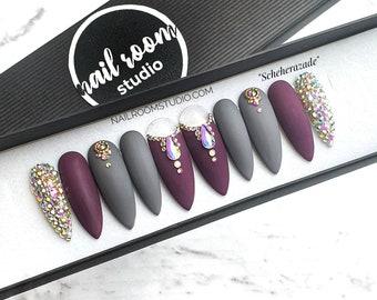 10 custom nails Scheherezade | purple grape AB crystals gray | made to order design press on false fake glue pop on long short set coffin