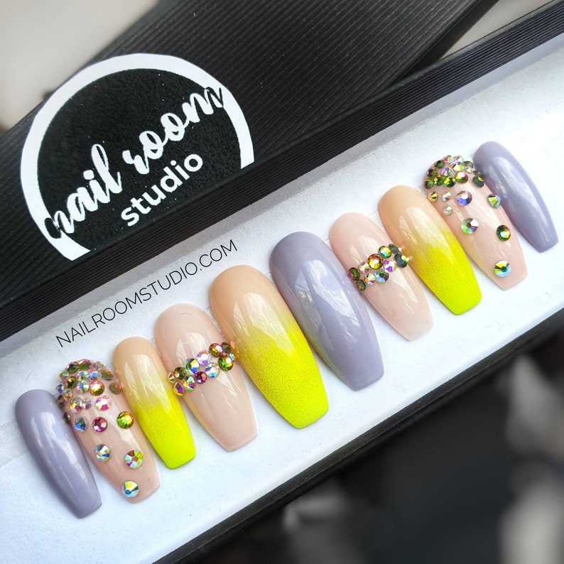 Girly and diamonds 10 press on nails  AB opal crystals yellow image 0