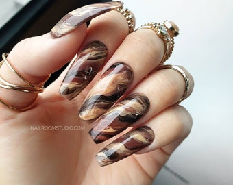 10 nails Brown Marble | long short medium small matte glossy coffin squoval oval stiletto almond ballerina