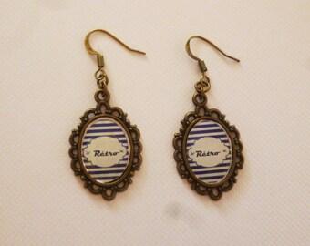 Retro striped earrings