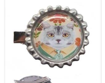 """The cat"" metal hair clip"