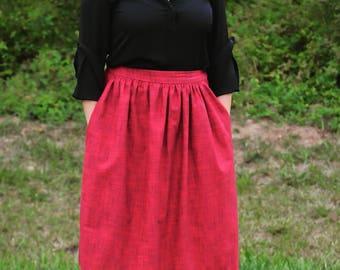 Handmade Midi Skirt with pockets