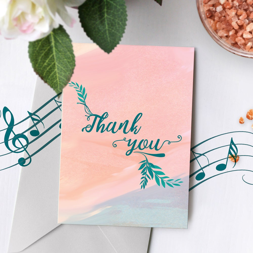 Recordable Card Modern Day Thank You Card Pastel Thank You Etsy