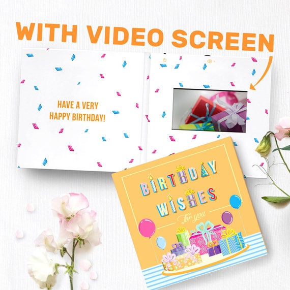 Happy Birthday Card With Video Screen Birthday Greeting Etsy