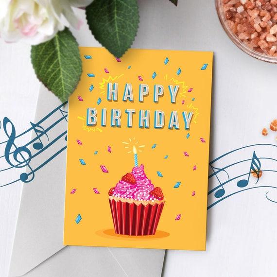 Cupcake Birthday Card With Music Greeting