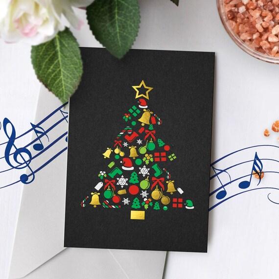 Gold Foil Christmas Card With Music Black Christmas Card