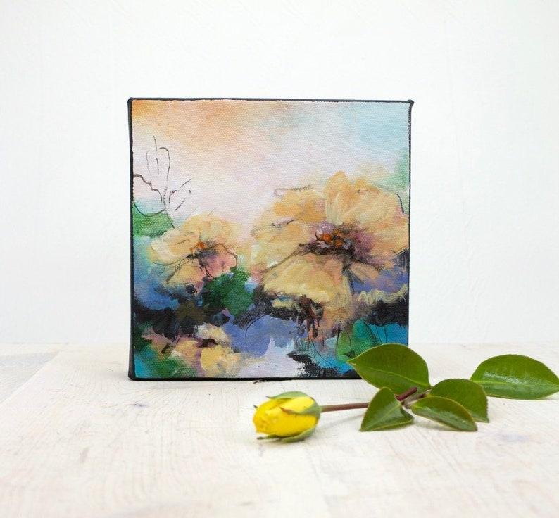 Peinture Acrylique Abstraite Fleur Acrylique Sur Toile Etsy
