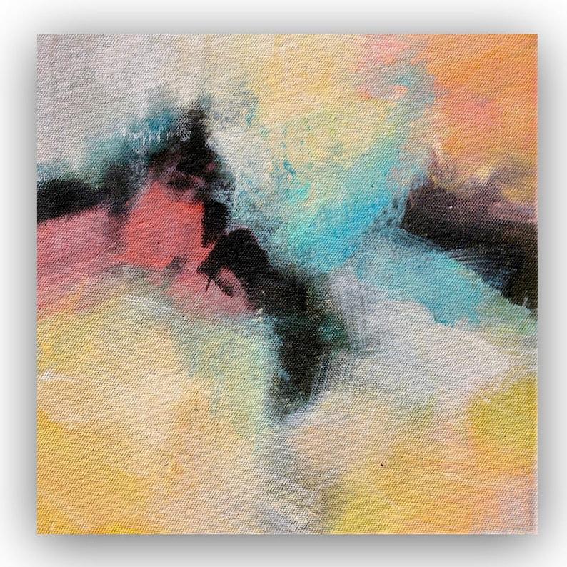 Peinture Acrylique Abstraite Sur Toile Sur Un Coup De Tête Etsy