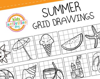 Summer Grid Drawings for Kids