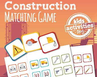 Construction Memory Matching Game Printable for Kids