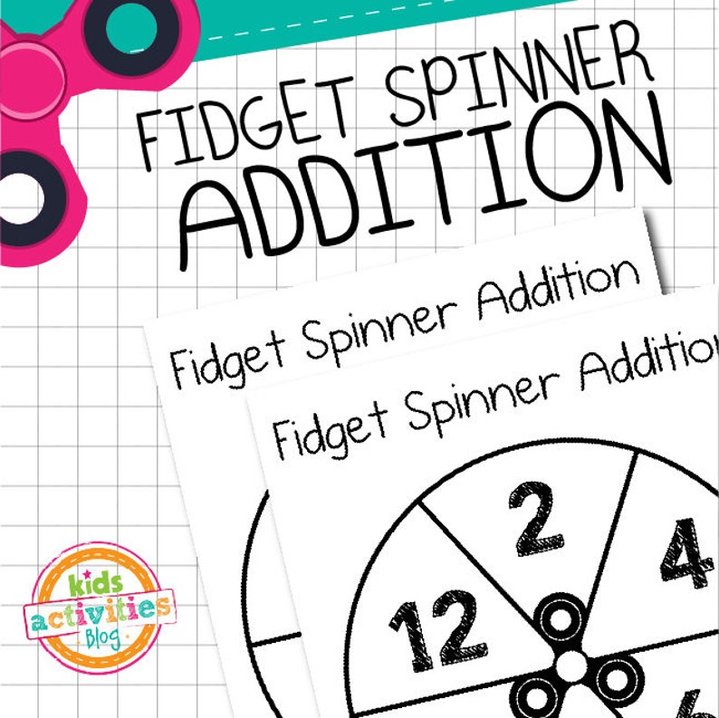 picture relating to Fidget Spinner Printable titled Fidget Spinner Addition Activity Printable