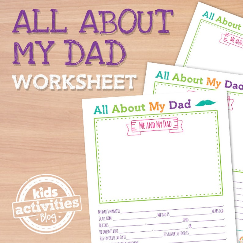 All About My Dad Printable Worksheet For Father S Day Etsy