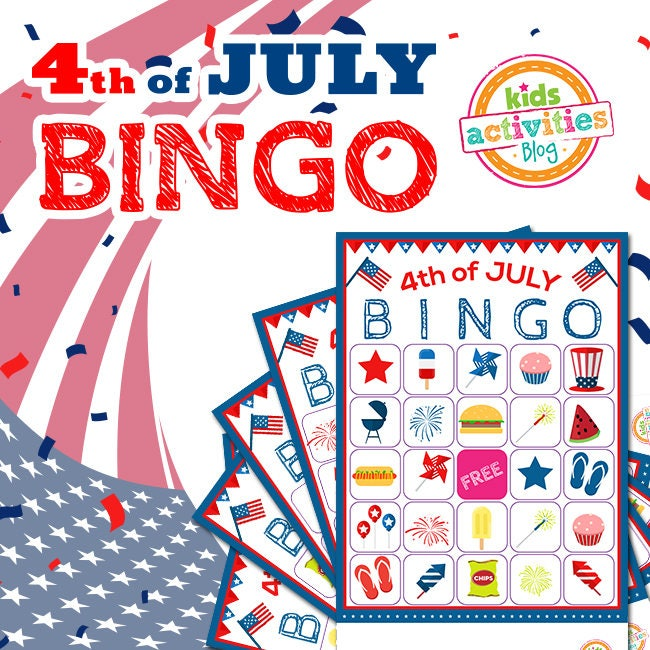 4th Of July Bingo Printable Game Fourth Of July Party Ideas Etsy