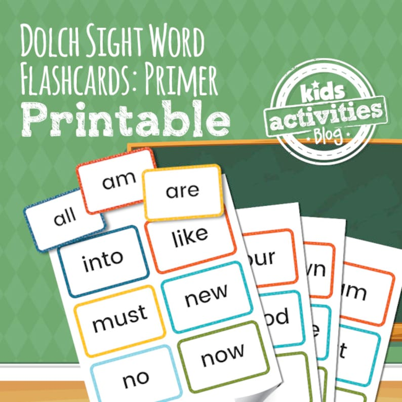 Dolch Sight Word Flashcards - Primer List - Preschool Printable Game