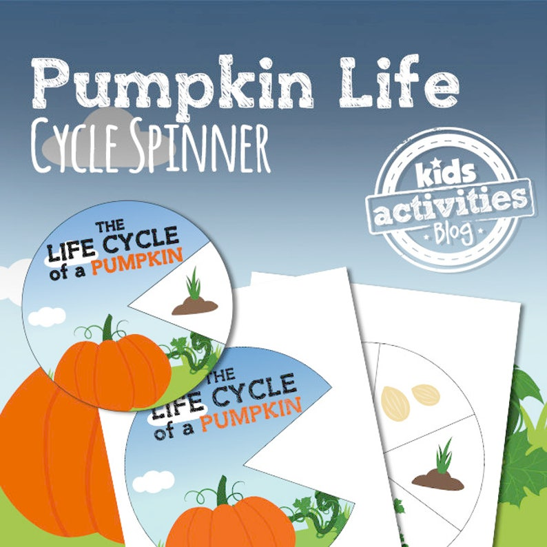 picture regarding Life Cycle of a Pumpkin Printable titled Pumpkin Lifetime Cycle Spinner STEM Printable Video game for Young children