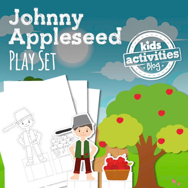 Johnny Appleseed Printable Play Set for Preschool image 0