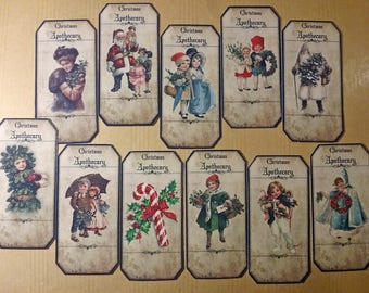 Set of 15 large stickers stickers Christmas images vintage for your scrapbooking creations