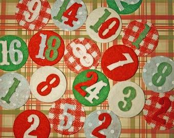 Set of 24 figures felt for the advent calendar, Christmas decoration or scrapbooking