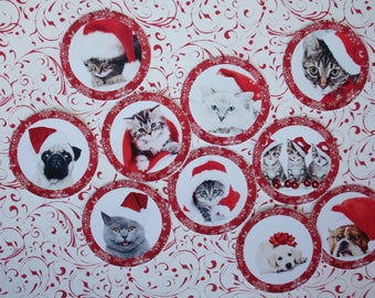 Set of 11 round labels stickers cat and dog dressed in Christmas