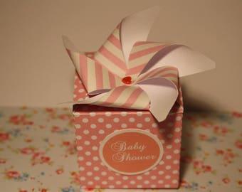 Boîte à dragées moulin à vent pour baby shower, anniversaire, naissance, baptême