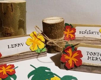 Lot of 10 custom brand-place on the theme hawaii moana tropical in kraft and paper flowers