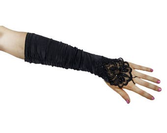 Sequin LACE Gloves Fingerless Black
