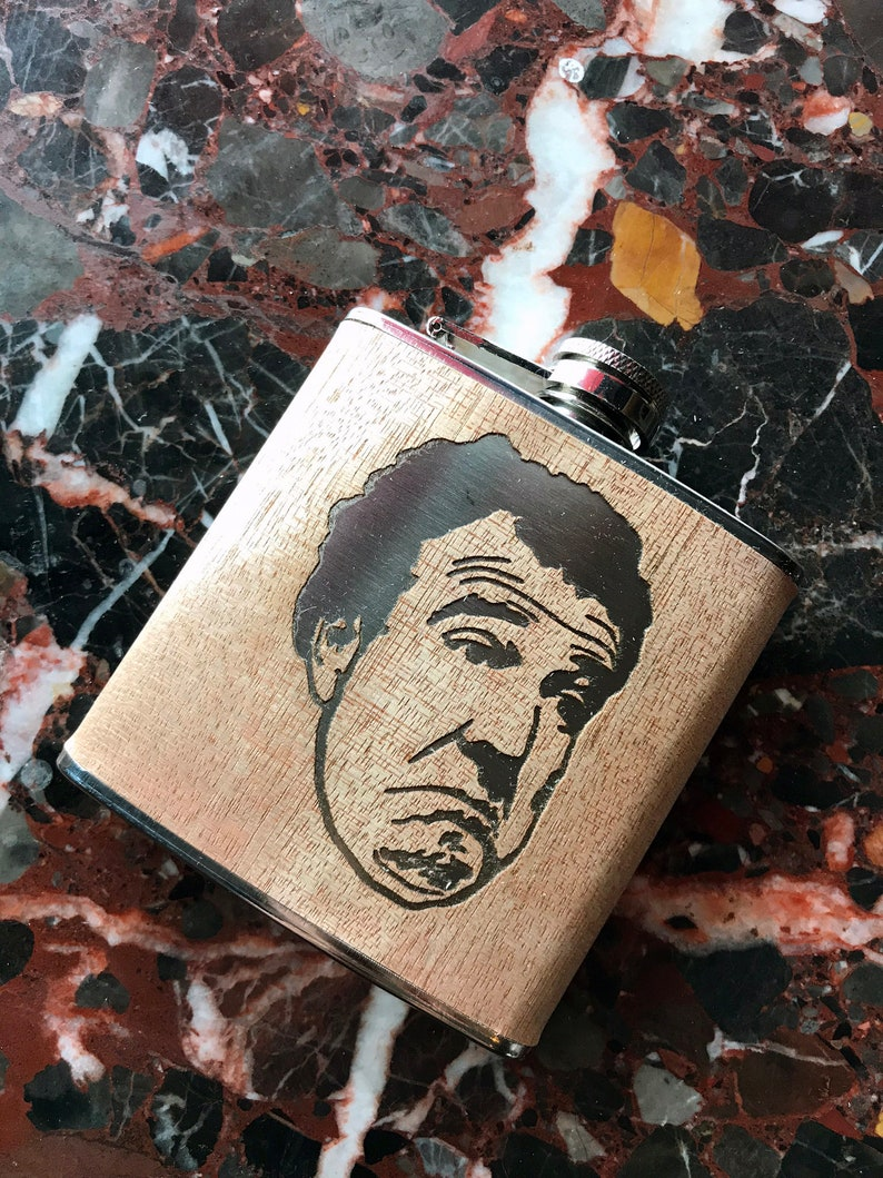 Jeremy Clarkson - Top Gear - Power!!! - Laser Engraved Wrapped Hip Flask  with Jeremy Clarkson - Not Bad!
