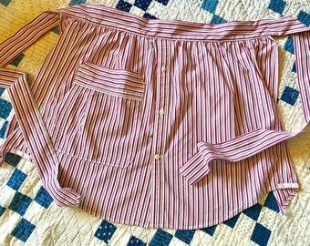 Red and grey striped apron