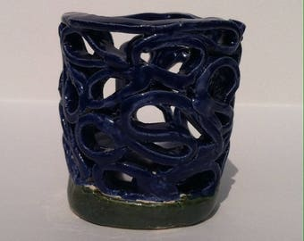 Elaborate Handmade Ceramic Candle Holder