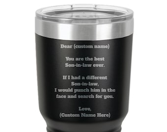 Gift For Son In Law Personalized Gifts Tumbler Travel Coffee Mug Funny
