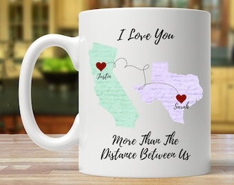 Long Distance Relationship Boyfriend Gift Personalized Mug Moving