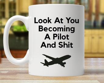 pilot gift, gift for pilot, pilot mug, flight school graduate, becoming pilot, aviation school graduate, funny pilot mugs, coffee cup