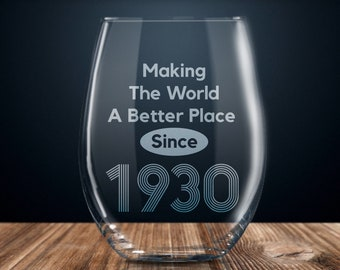 89th Birthday Gift Wine Glass Happy Party 89 Years Old 1930