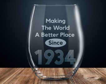 85th Birthday Gift Wine Glass Happy Party 85 Years Old 1934