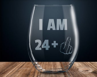 25th Birthday Gift Wine Glass Party Funny 25 Year Old Twenty Five Years Gag Ideas