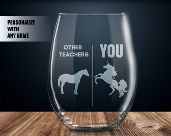 Personalized Teacher Gift Ideas For Wine Glass Best Ever Unicorn Birthday Present