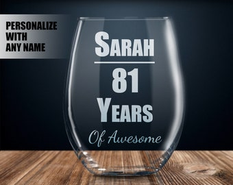 Personalized 81st Birthday Gift Wine Glass Party Present 81 Year Old