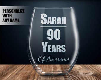 Personalized 90th Birthday Gift Wine Glass Party Present 90 Year Old