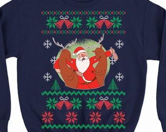 Drunk Friends Ugly Christmas Sweater Funny Santa Jesus Rudolph Party Sweatshirt