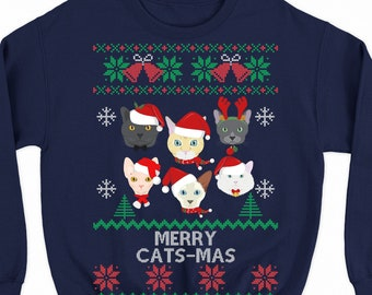 062b72bf8f8d cat sweater, cat Christmas sweater, cat ugly Christmas sweater, plus size  christmas sweater for women and men, funny xmas sweatshirt