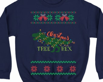 7c343fdd58ea64 funny tree rex sweater for women and men, t rex ugly Christmas sweater, tree  rex Christmas sweater, dinosaur tree sweatshirt, xmas t-rex