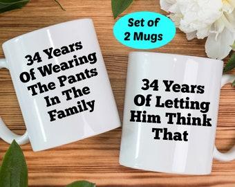 34th anniversary gifts, 34th anniversary mugs, 34th wedding anniversary gifts, 34th year anniversary gift, 34th anniversary gift