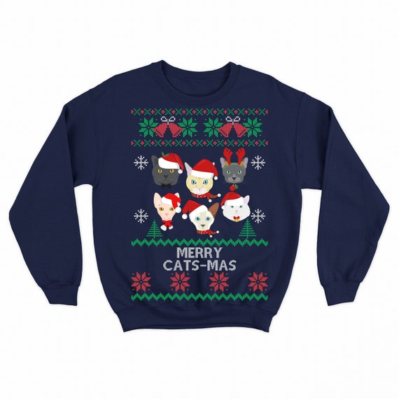 Ugly Christmas Sweater Cat.Cat Sweater Cat Christmas Sweater Cat Ugly Christmas Sweater Plus Size Christmas Sweater For Women And Men Funny Xmas Sweatshirt