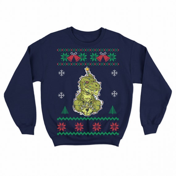 Ugly Christmas Sweater Dinosaur T Rex Tyrannosaurus Women S Ed Scoop Shirt By Sleazoid Redbubble